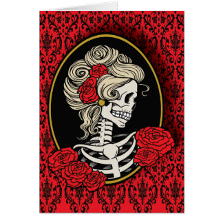Lady Skeleton Cameo Card Graphic Design
