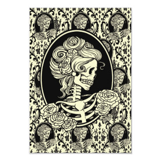 Lady Skeleton Silhouette Graphic Design Card