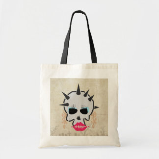 Lady Skull With Makeup and Spikes Tote Bag