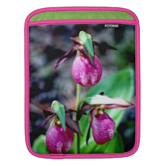 Lady Slipper I, Pink Green Garden Delight Sleeves For iPads