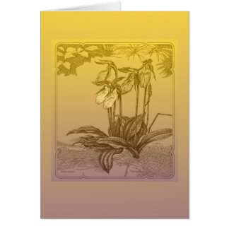 Lady slipper orchids greeting card
