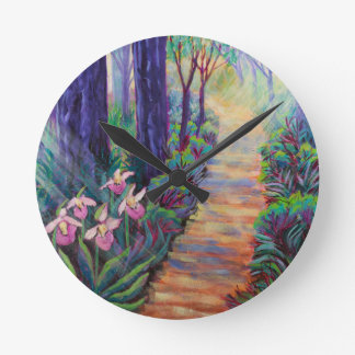 Lady Slippers on the Path Round Clock