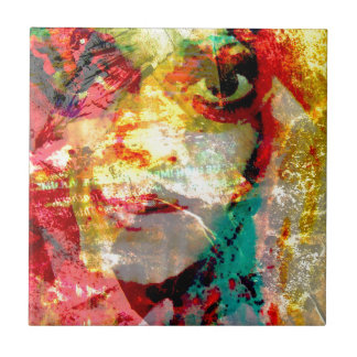 lady small square tile