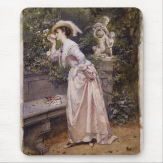 Lady Smelling Roses Mousepad