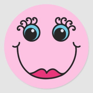 Lady Smiley Face Light Pink Classic Round Sticker