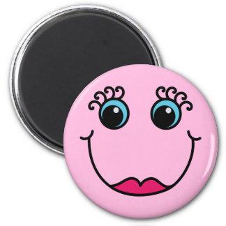 Lady Smiley Face Light Pink Magnet