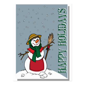 Lady Snowman Illustration Christmas Postcard