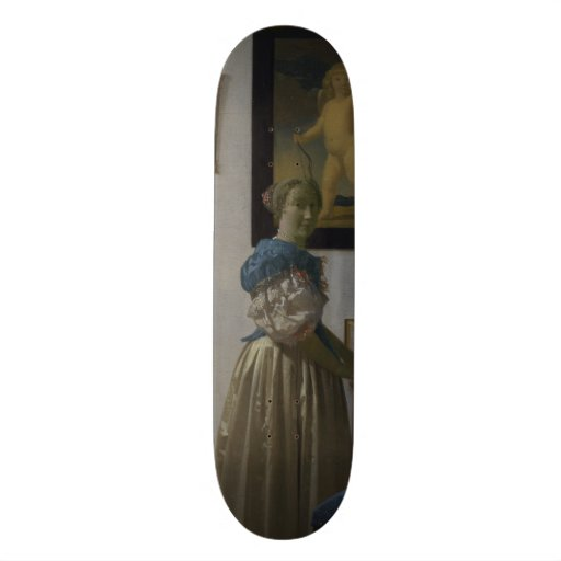 Lady Standing at a Virginal by Johannes Vermeer Skateboards