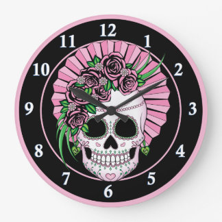 Lady Sugar Skull Large Clock