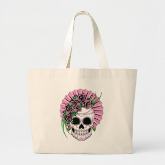 Lady Sugar Skull Large Tote Bag