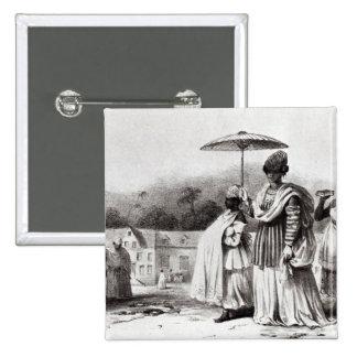 Lady taking child to Baptism 15 Cm Square Badge