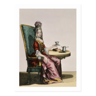 Lady Taking Coffee, fashion plate, c.1695 (engravi Postcard