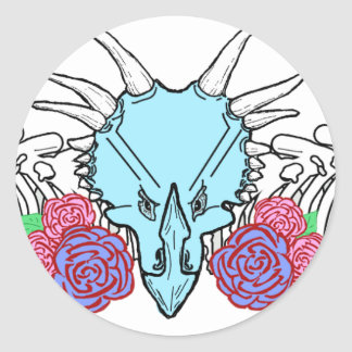 Lady Triceratops Classic Round Sticker