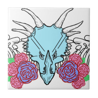 Lady Triceratops Small Square Tile