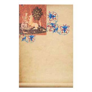 LADY,UNICORN, Animals Antique Floral Parchment Stationery