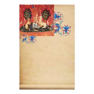 LADY,UNICORN,Lion,Animals Antique Floral Parchment Stationery