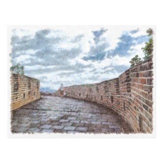Lady walking on the Great Wall of China Postcard