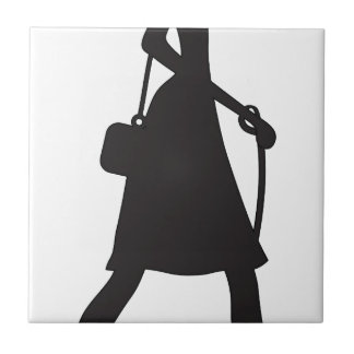 Lady Walking Puppy Silhouette Tile