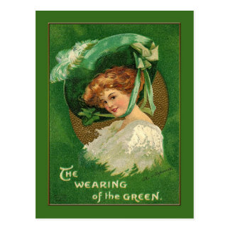 Lady Wears the Green for St Patrick Postcard