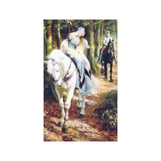 Lady white horse medieval knight painting canvas print