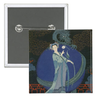 Lady with a Dragon (colour litho) 15 Cm Square Badge