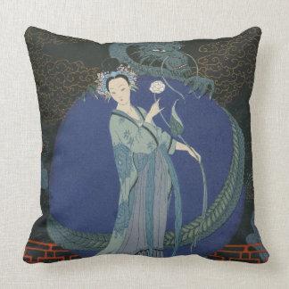 Lady with a Dragon (colour litho) Pillows