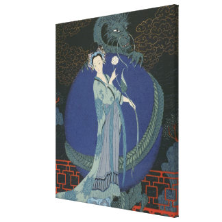Lady with a Dragon (colour litho) Gallery Wrapped Canvas