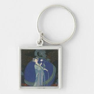 Lady with a Dragon (colour litho) Key Chain