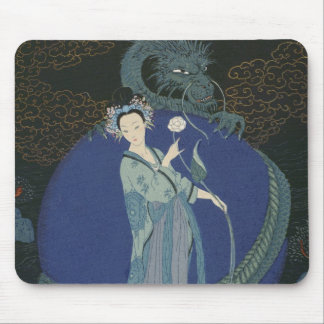 Lady with a Dragon (colour litho) Mouse Pad