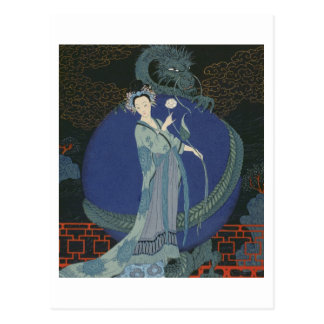 Lady with a Dragon (colour litho) Post Card