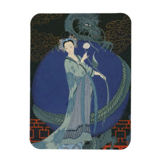 Lady with a Dragon (colour litho) Rectangular Magnet