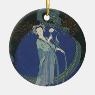Lady with a Dragon (colour litho) Round Ceramic Decoration
