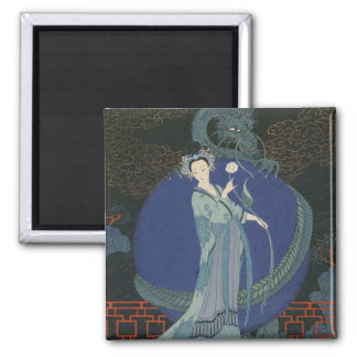 Lady with a Dragon (colour litho) Square Magnet