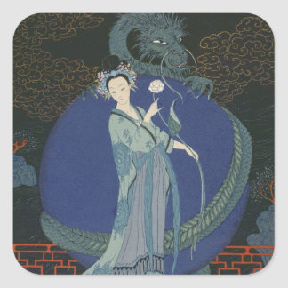 Lady with a Dragon (colour litho) Square Sticker