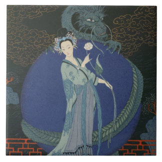 Lady with a Dragon (colour litho) Large Square Tile