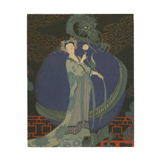 Lady with a Dragon (colour litho) Wood Canvases