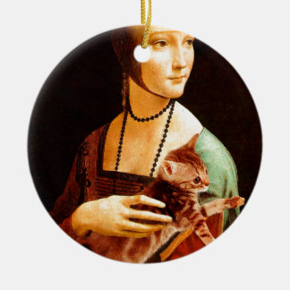Lady with a Kitten Ceramic Ornament