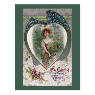 Lady with a Loving Thought Vintage Romance Postcard