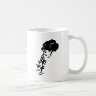 Lady with a microscope coffee mug