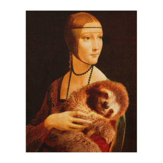 Lady with a Sloth Wood Canvases