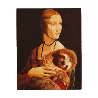 Lady with a Sloth Wood Print