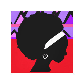 Lady with Afro Red and purple tribal print