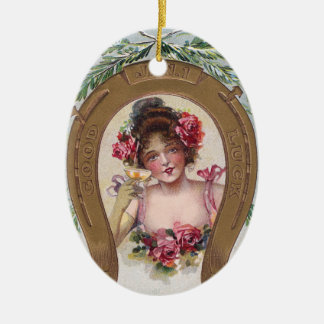 Lady with Champagne Antique New Year Ceramic Ornament