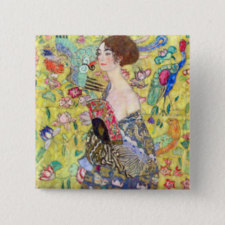 Lady with fan by Gustav Klimt 15 Cm Square Badge