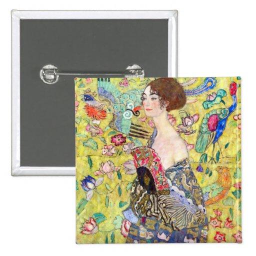 Lady with fan by Gustav Klimt Pinback Button