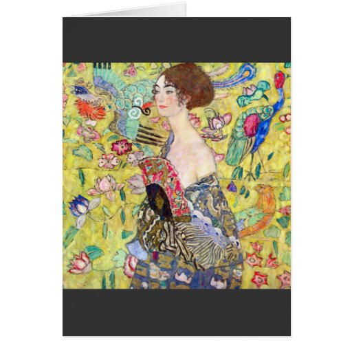 Lady with fan by Gustav Klimt Greeting Cards