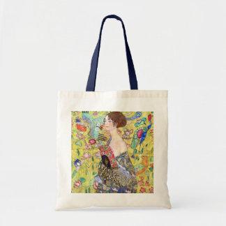 Lady with Fan by Gustav Klimt, Vintage Japonism Budget Tote Bag