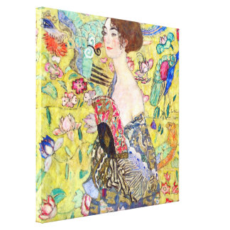 Lady with Fan by Gustav Klimt, Vintage Japonism Canvas Print