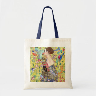 Lady with Fan by Gustav Klimt, Vintage Japonism Canvas Bags