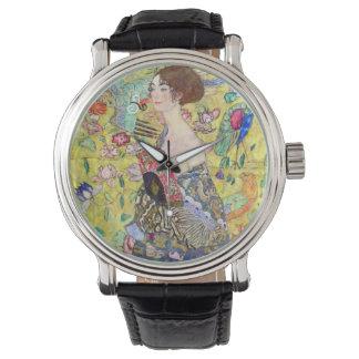 Lady with Fan by Gustav Klimt, Vintage Japonism Watch